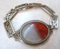 Vintage Miracle Faux Agate Scottish Style Statement Bracelet.